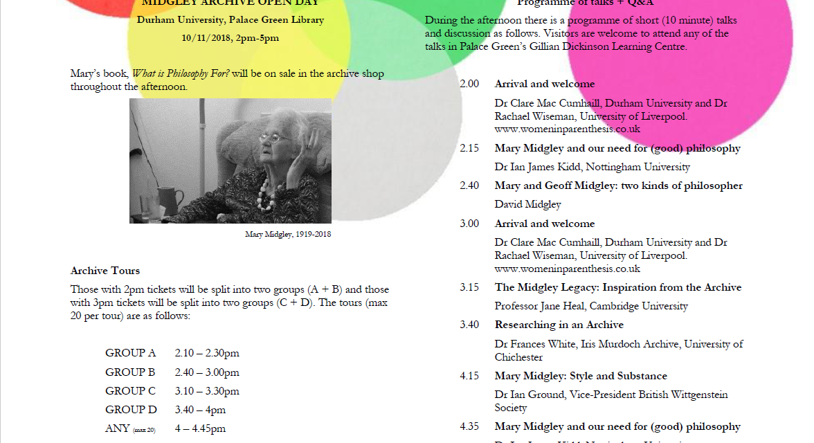 Durham University acquires archive of Mary Midgley – Join us for the launch this Saturday (10th November 2018)